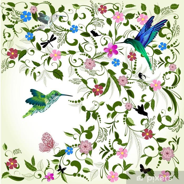 Naklejka Pixerstick Kwiatów tle z ptakiem - Tematy