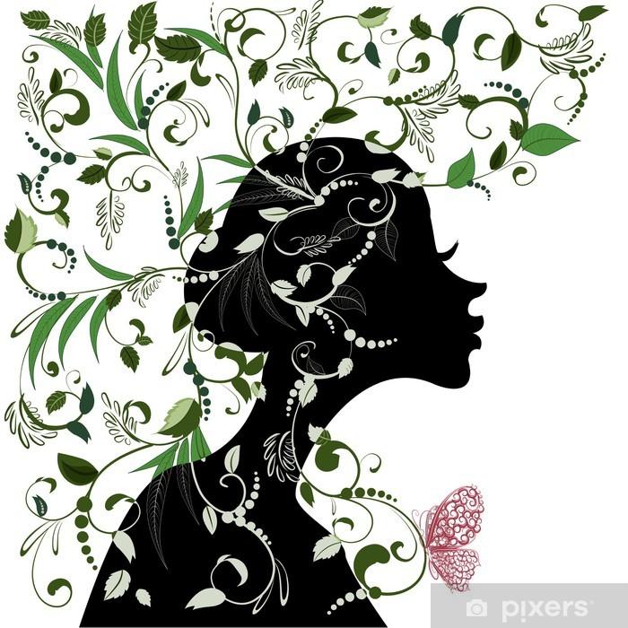 Papier peint vinyle Coiffure florale, fille et le papillon - Sticker mural