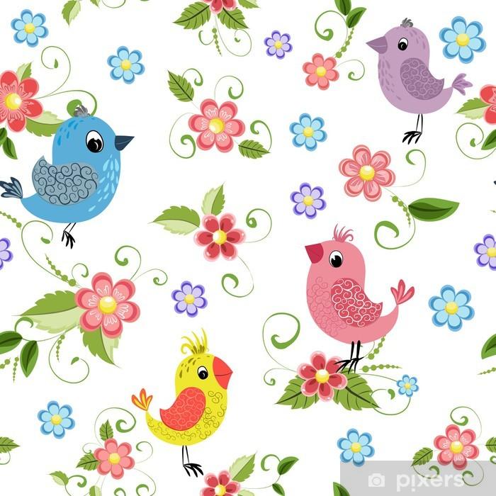 Sticker Pixerstick Texture transparente oiseau et des fleurs - Styles