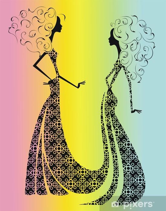 Vinylová fototapeta Dvě ženská silueta na barevném pozadí - Vinylová fototapeta