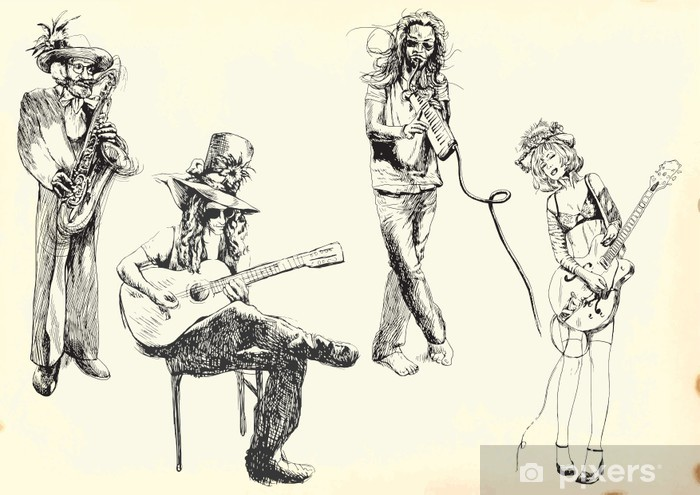 musicians - collection of hand drawings into vector Vinyl Wall Mural - Music
