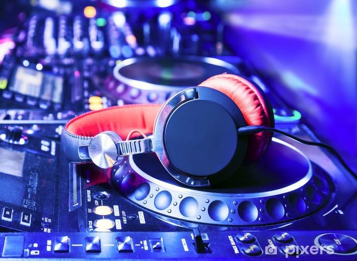 Dj mixer with headphones Vinyl Wall Mural -