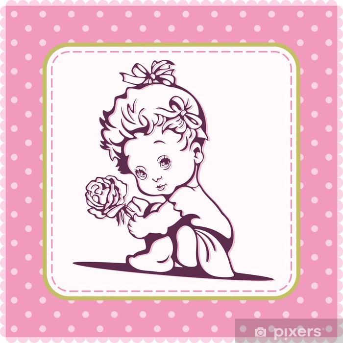 Vinylová fototapeta Cute Baby Girl vektorové ilustrace - Vinylová fototapeta