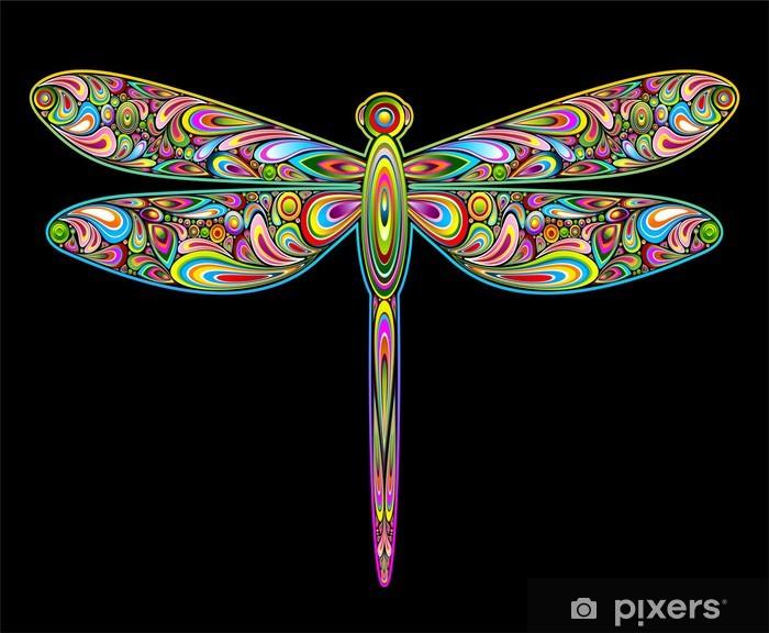 Sticker pour frigo Dragonfly Design Art-Psychedelic Insecte Libellule - Animaux imaginaires