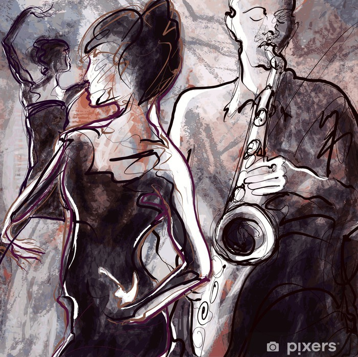 Poster Jazz band avec des danseurs - Jazz