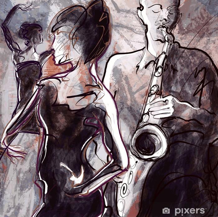 Jazz band with dancers Pixerstick Sticker - Jazz