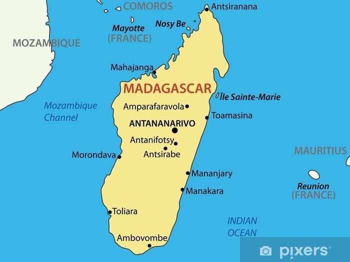 Carta Da Parati Repubblica Del Madagascar Mappa Vettoriale