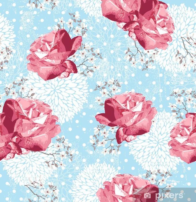 Sticker Pixerstick Seamless avec des fleurs fond floral avec des roses et - Styles