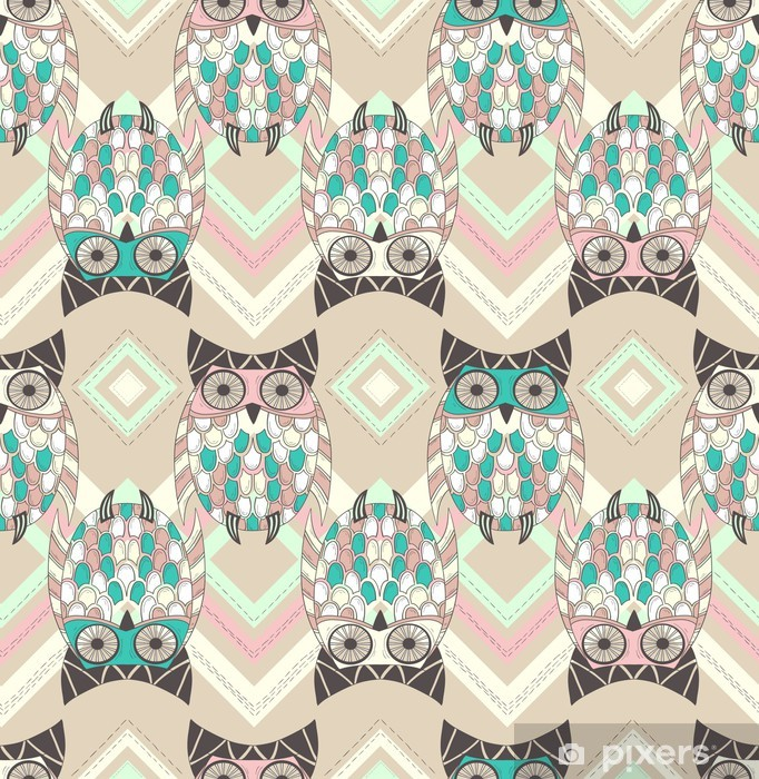 Cute owl seamless pattern with native elements Pixerstick Sticker - Themes