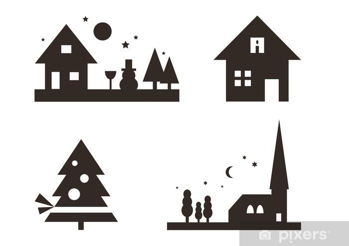 Sticker Pixerstick Noël silhouettes: Paysage, Noël, ... - Fêtes internationales
