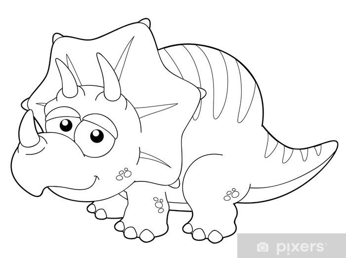 Illustration Of Cartoon Dinosaur Outline Sticker Pixers We Live