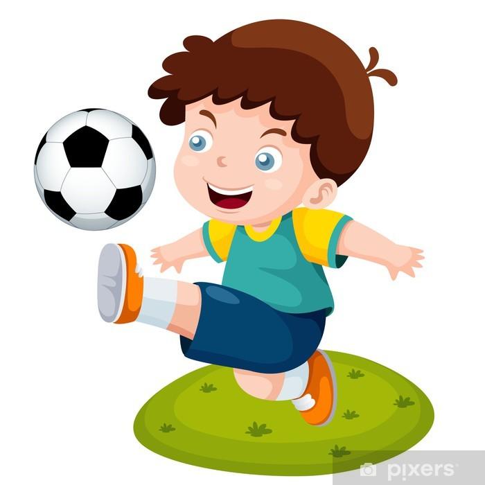 Aufkleber Illustration Der Comic Junge Der Fussball Pixerstick
