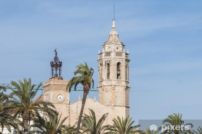 Nálepka Pixerstick Sant Bartomeu i kostel v Sitges, Španělsko Santa Tecla - Evropská města