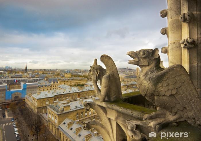 Vinyl-Fototapete Wasserspeier von Notre Dame über Paris - Europäische Städte