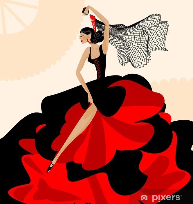 Fototapet av Vinyl Kvinna flamenco - Teman