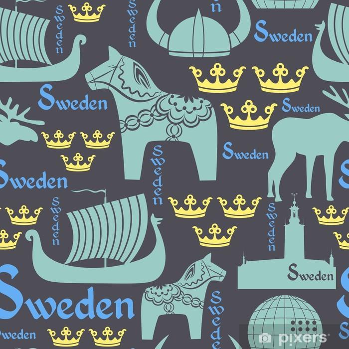 Naklejka Pixerstick Ciemny szwu z symbolami Szwecji - Tła