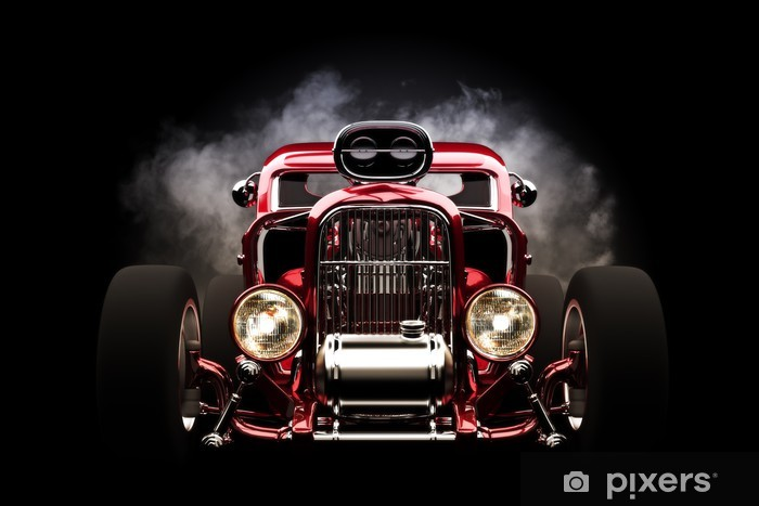 Hotrod with smoke background Vinyl Wall Mural - Backgrounds