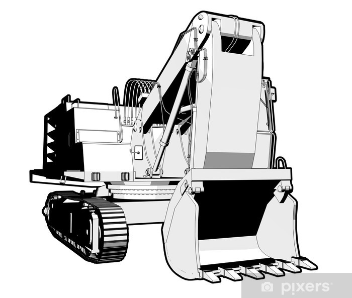 Fototapet av Vinyl Perspektiv illustration av en grävare i svartvitt. - På vägen