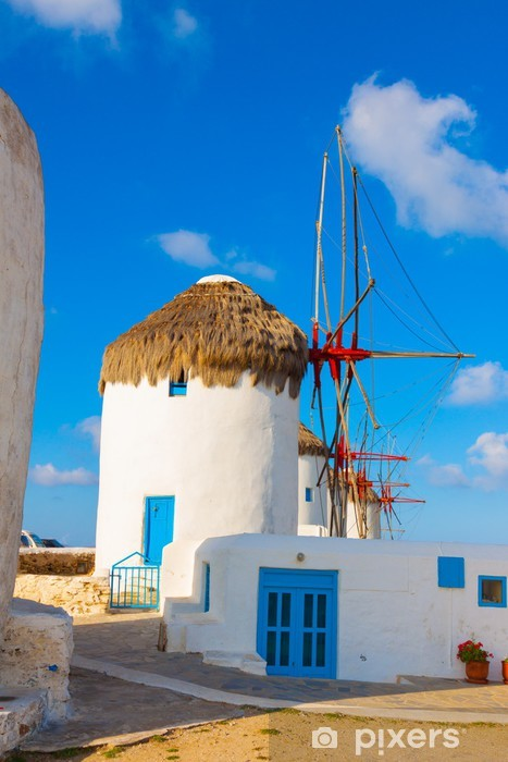 Windmills lined up closeup in Mykonos island cyclades Greece Vinyl Wall Mural - European Cities