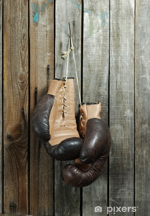 Brown old boxing gloves with a lace over old wooden wall Pixerstick Sticker - Themes