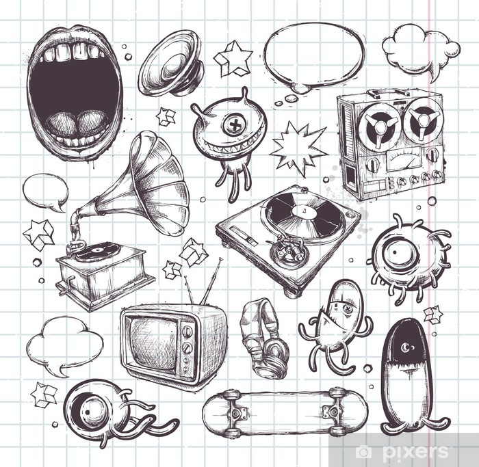 Naklejka Pixerstick Zestaw ręcznie rysowane elementy - Abstrakcja
