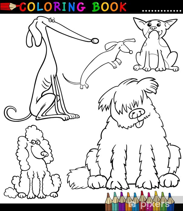 Cartoon Dogs or Puppies for Coloring Book Wall Mural • Pixers® • We ...