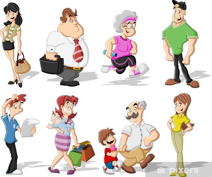 Fototapeta winylowa Grupa cute kreskówek szczęśliwych ludzi - Grupy i tłumy