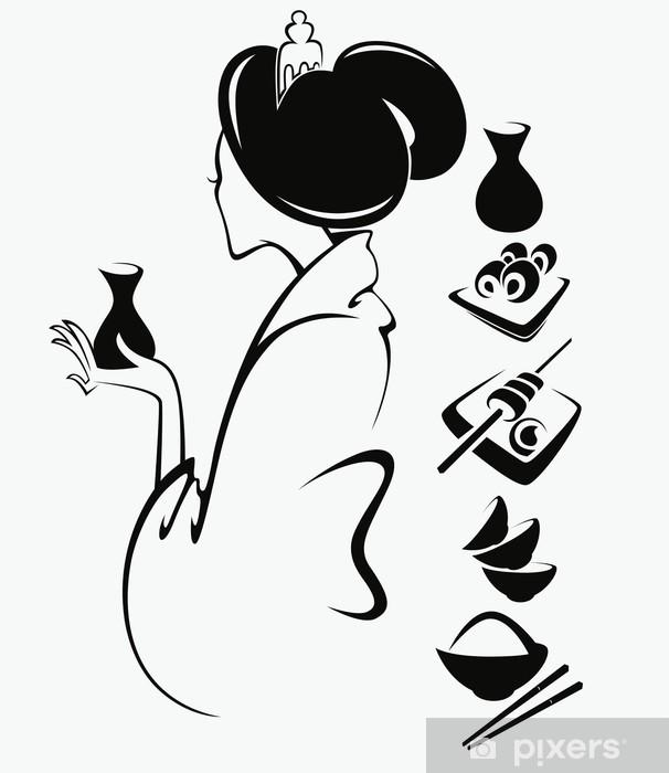 Naklejka Pixerstick Wektor obraz japońskiej dziewczyny z tradycyjnej żywności - Style