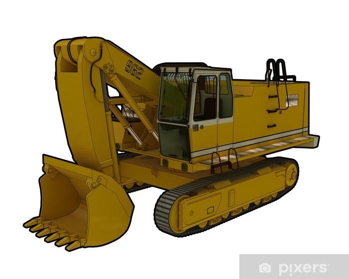 Vinilo Pixerstick Perspectiva ilustración de un cavador construcción industrial. - Por carretera