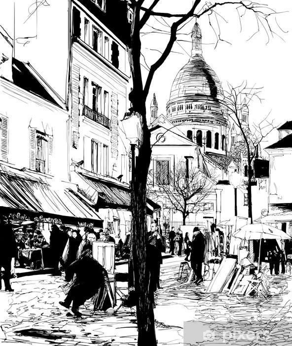 Papier peint vinyle Montmartre en hiver - Thèmes