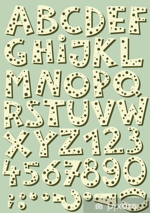 Naklejka Pixerstick Litery i cyfry w kropki retro zestaw na błękitnym tle - Sprzedaż