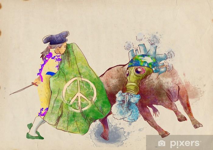Pixerstick Aufkleber Grüne Natur-monster der Globalisierung kämpft mit toreador - Recht