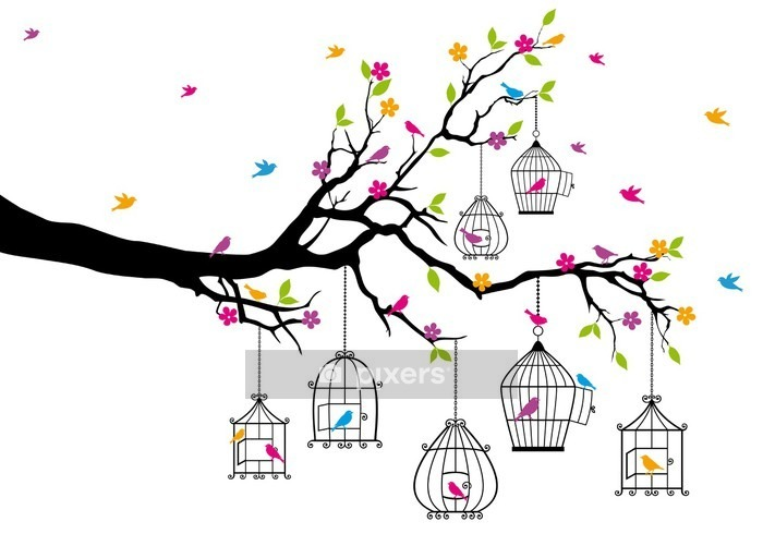 tree with birds and birdcages, vector Wall Decal - Themes