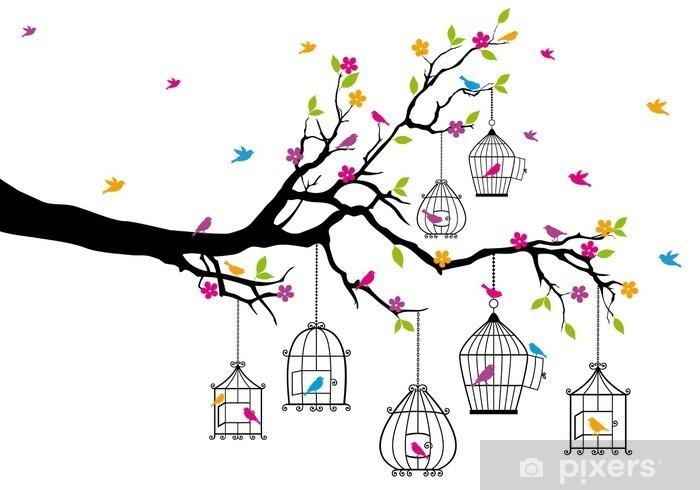 Vinilo Pixerstick Árbol con los pájaros y jaulas de pájaros, vector - Temas