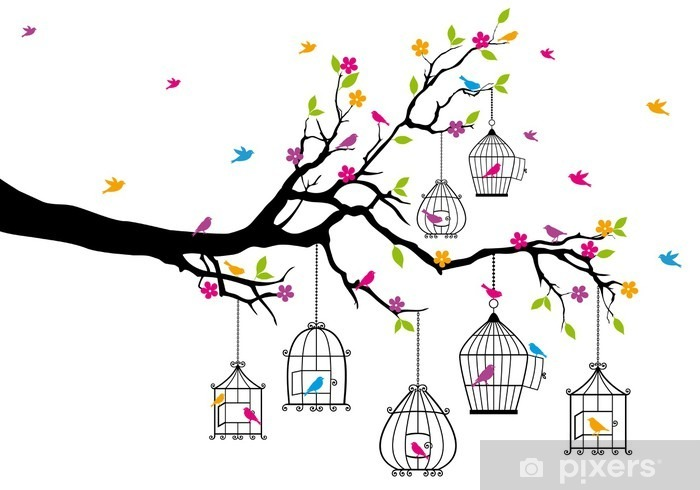 tree with birds and birdcages, vector Vinyl Wall Mural - Themes