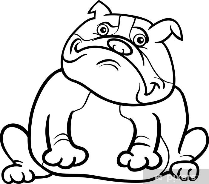 Boyama Kitabı Için Ingilizce Bulldog Köpek Karikatür Duvar Resmi