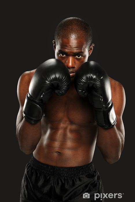 Young African American Boxer Pixerstick Sticker - Themes