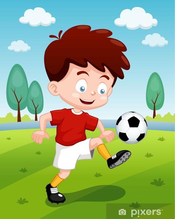Fototapete Illustration Der Comic Junge Der Fussball
