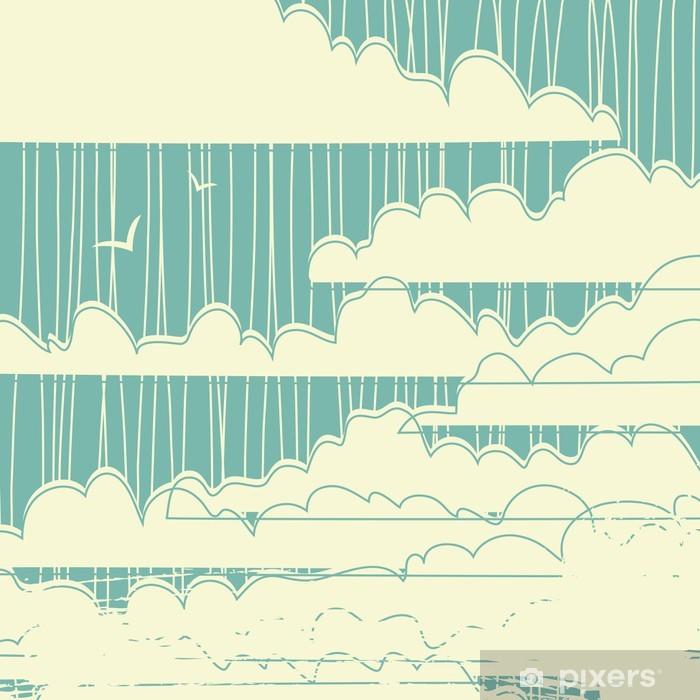 Plakat Retro grungy tle chmur - Style