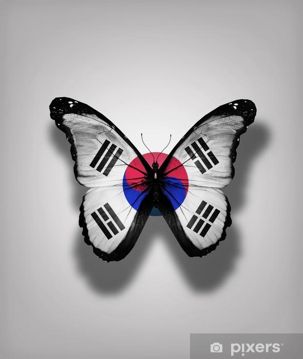 Sticker Pixerstick Corée du Sud drapeau papillon, isolé sur fond de drapeau - Évènements nationaux