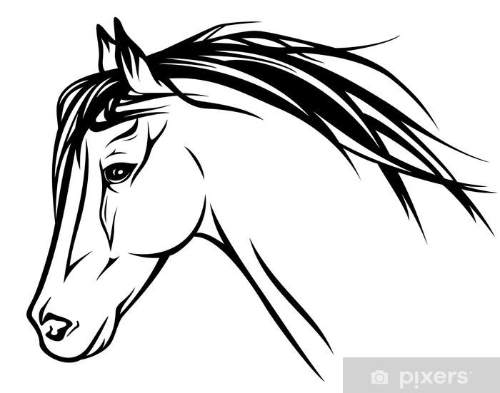 Running Horse Head Realistic Vector Illustration Wall Mural