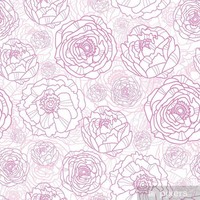 Vector pink line art flowers elegant seamless pattern background Pixerstick Sticker - Styles