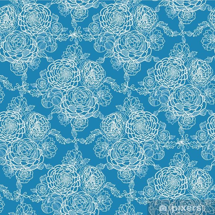 Papier peint vinyle Vecteur bleu dentelle fleurs élégant seamless - Fleurs