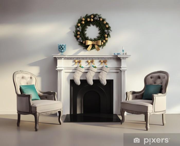 Fotobehang elegante luxe moderne woonkamer met witte open haard