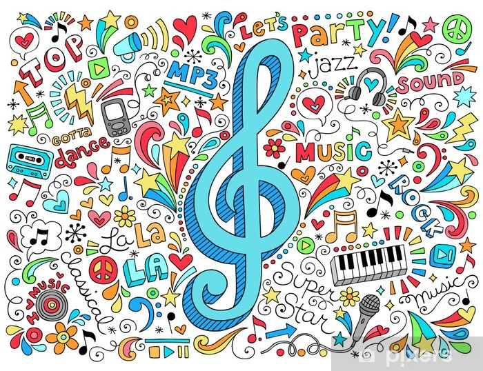 Vinilo Pixerstick Música Clef de G Groovy Doodles vector Set - Rock