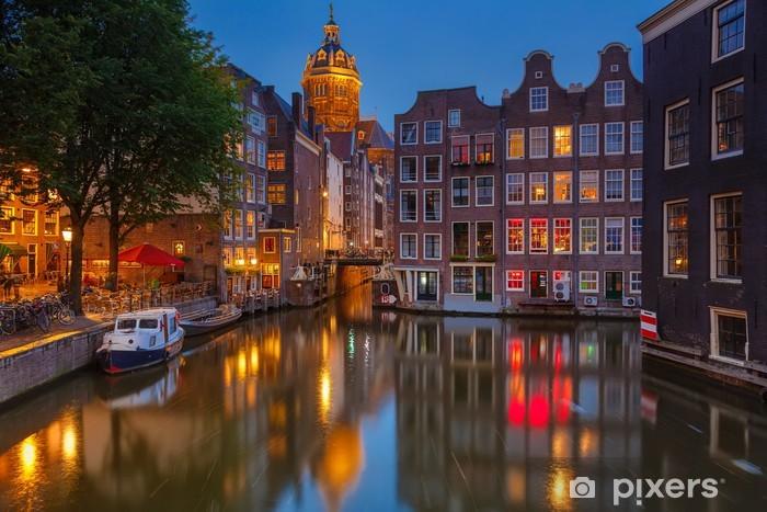 Fotomural Estándar Amsterdam en la noche - Temas