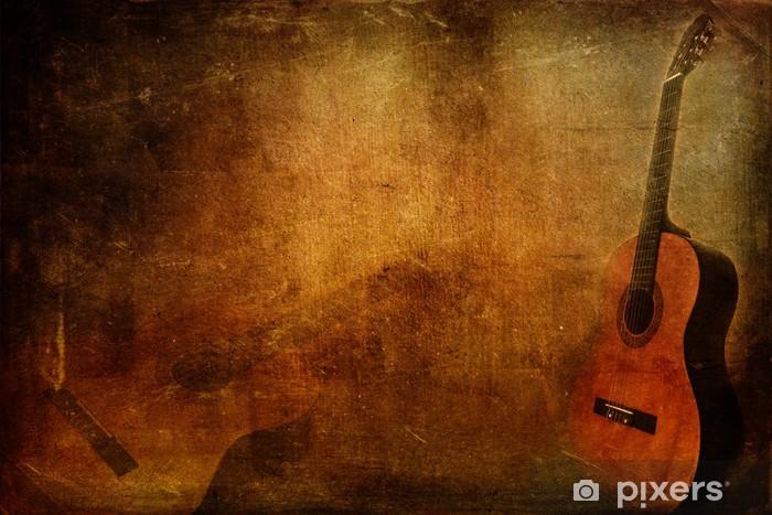Grunge background guitar Pixerstick Sticker - Jazz
