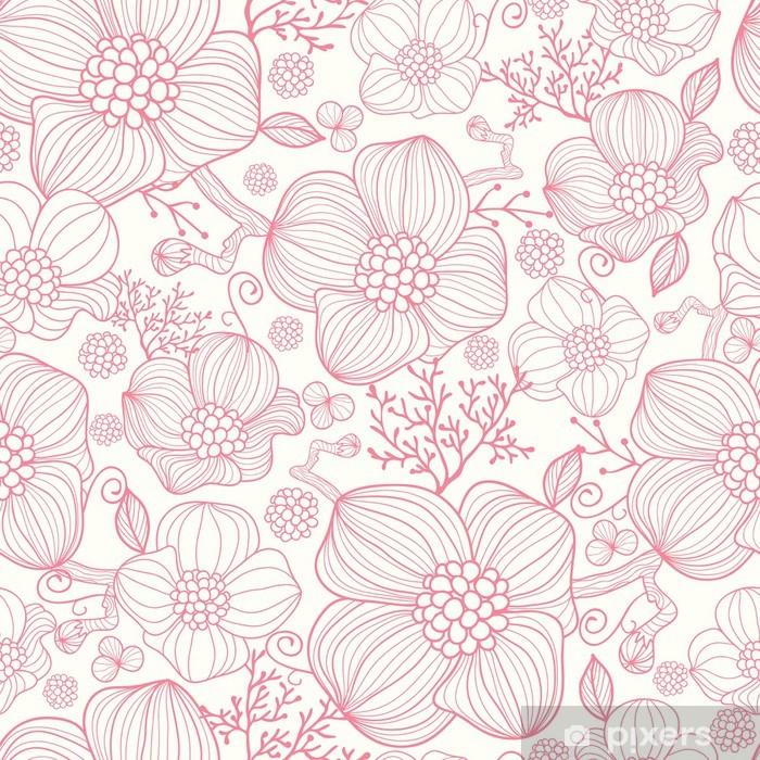 Vinil Duvar Resmi Vektör kırmızı çizgi sanat çiçekleri zarif seamless pattern arka plan -