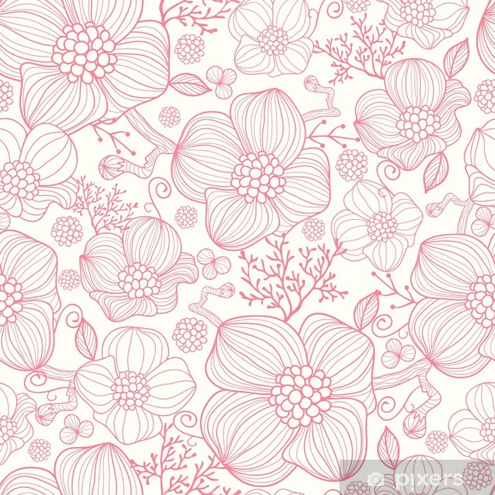 Vinyl Fotobehang Vector rode lijn kunst bloemen elegante naadloze patroon achtergrond - Stijlen
