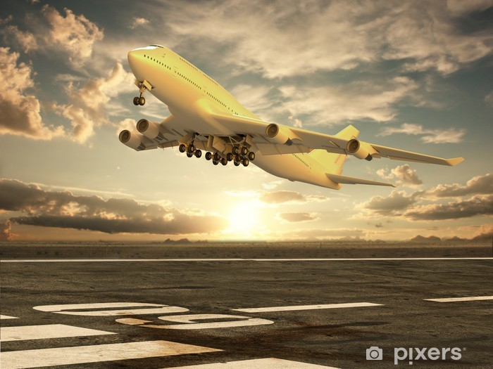 Vinyl Fotobehang Opstijgend vliegtuig bij zonsondergang - Thema's